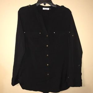 Calvin Klein black and gold button down blouse